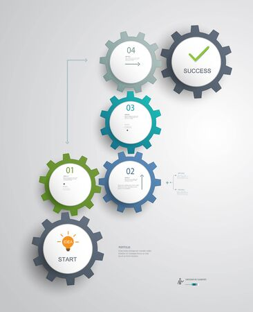 banners web: Gears Infographics for successful business steps idea planning.