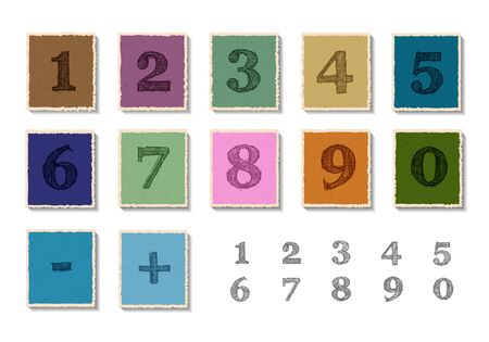 two child: Color numbers set on torn paper.Vector illustration. Illustration