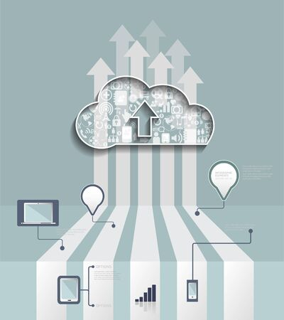 telecommunication: Cloud Hosting.Cloud Computing concept with Icon,social network group,infographic background