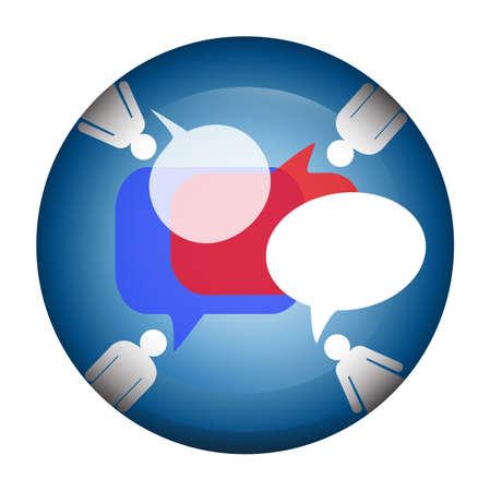 青の円形の背景にアイコンとバルーン