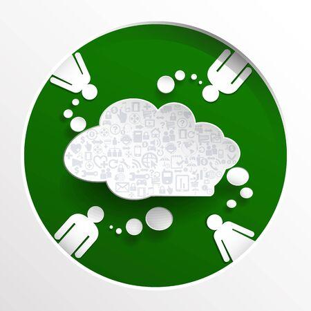 緑の円の背景にアイコンとバルーン