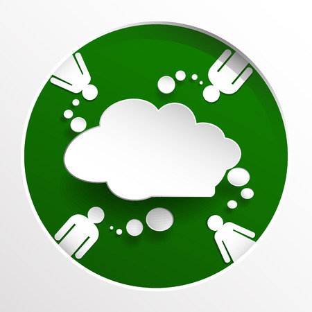 spores: Speech bubble with people on green circle background Illustration