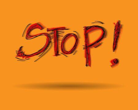 vibration: Vibration wording stop on yellow background.vector file. Illustration