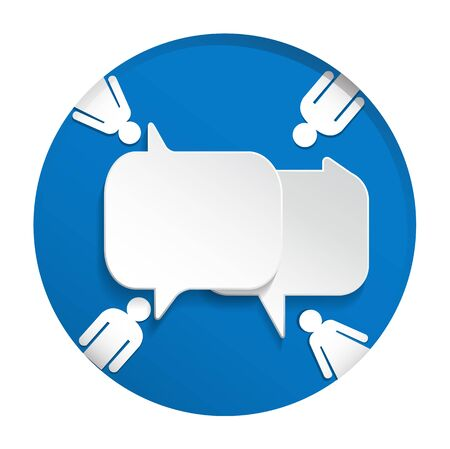 Speech bubble with man and woman on blue circle background