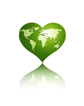 green heart: White world map on green heart globe.Isolated on white. eps10  vector Illustration
