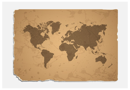 old world: World map on blank grunge  paper texture.vector file