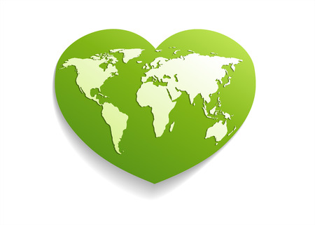 green world: Map world .Green Heart globe.Isolated on white.