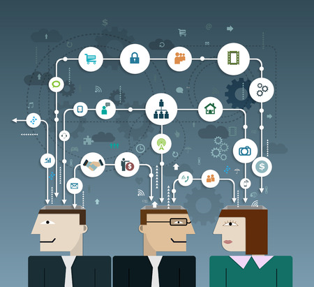 compatibility: Business people connect with social network, communication in the global computer networks