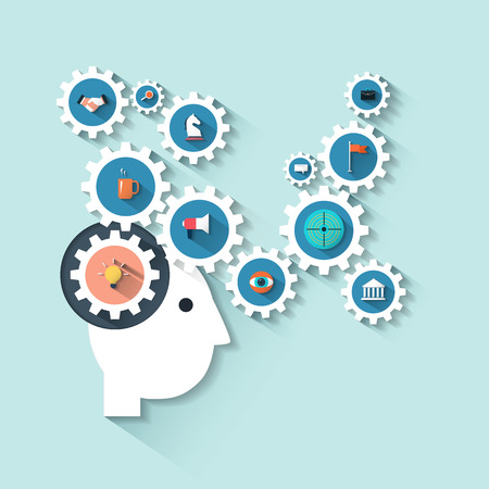 Flat design style modern vector illustration head with gears.Concept with icons set of creative thinking business strategy process