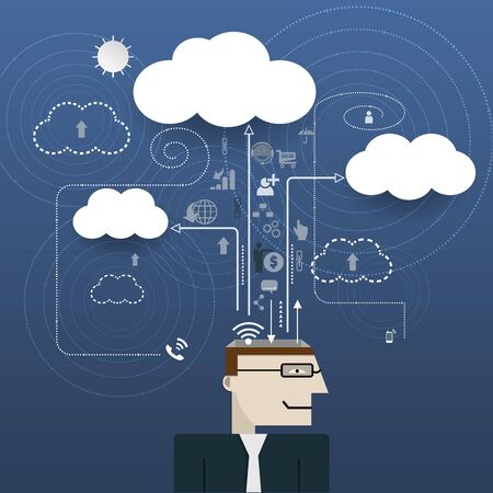 cloud technology: Businessman with network information space. Cloud computing technology.Business technology concept Illustration