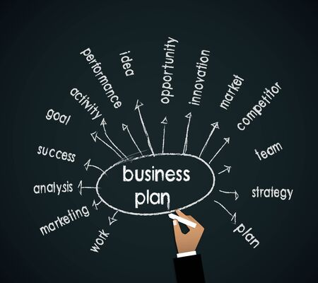 Business man hand writing business plan concept