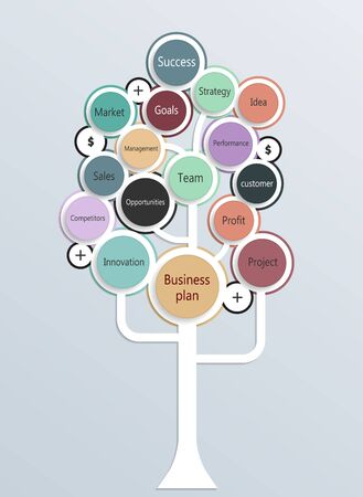 Growth tree concept for Business Plan, communication, marketing research, strategy, mission, analytics and web design. Vector illustration.