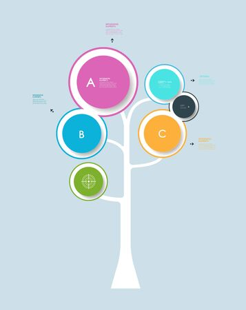 grows: Infographic circle label design with abstract tree.with place for your content.Growth tree concept for communication, business, social media, technology, network and web design.