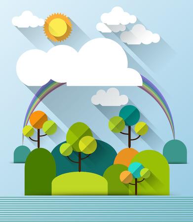 ferraille: ressort de papier arbre colline. Appartement style de conception nuage .Metiers avec un espace pour la conception