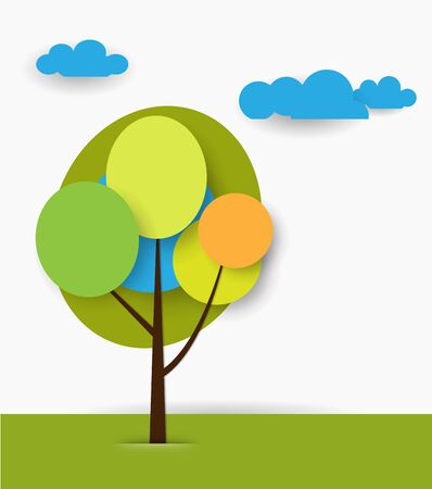 Paper spring tree. Flat design style on light blue background with space for design