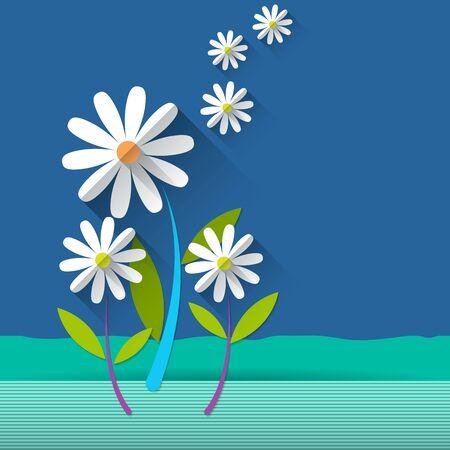 scrapbook background: Paper spring tree. Flat design style on light blue background