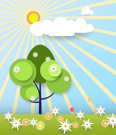 clound: Paper spring tree. Flat design style on light blue background with space for design
