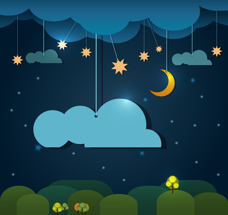 night: Abstract paper-moon with stars-cloud and sky at night