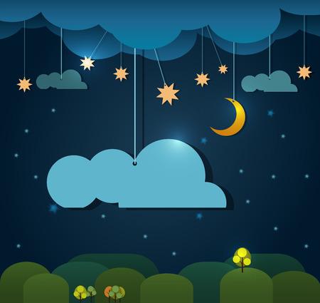 noche y luna: Resumen de papel-luna con estrellas en la nube y el cielo en la noche