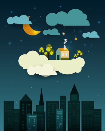 blank space: Abstract paper-fantasy home sweet home -moon with stars-cloud and sky at night .Blank space for design Illustration