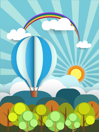 sun flower: Abstract paper with sunshine- cloud and balloon on light blue background with space for design.Flat design style for spring card