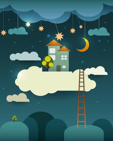 sen: Abstrakt papír-fantazie Home Sweet Home -moon s hvězdami-mrakem a obloha v noci .Blank prostor pro design