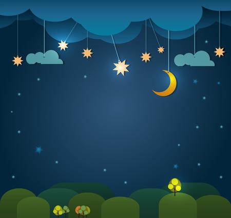 himmel mit wolken: Abstrakt papier- Mond mit Sternen -Cloud und Himmel in der Nacht .Blank Raum für Design Illustration