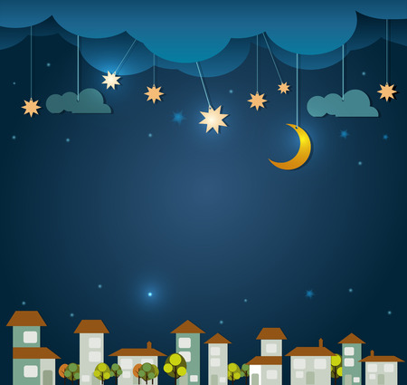 scrapbook background: Abstract paper- moon with stars -cloud and sky at night .Blank space for design