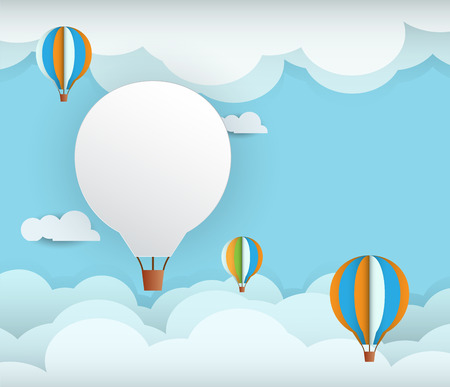 Abstract paper with white cloud and balloon on  blue sky background with space for design.Flat design style for spring card Иллюстрация