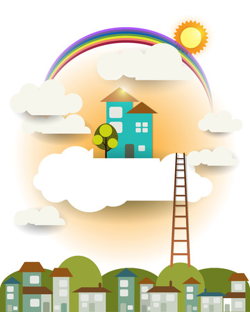 scrapbook background: Abstract paper-fantasy home sweet home -sun-rainbow with cloud and sky  .Blank space for design