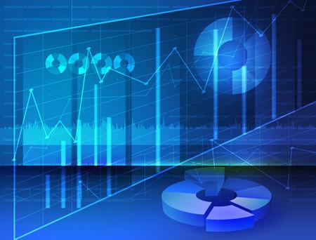 planificacion: Abstract diagramas, de los medios de comunicación de imagen gráficos digitales con fondo azul Vectores