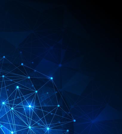 atomo: Resumen futurista - Moléculas y tecnología digital polígono fondo azul. Ilustración de diseño vectorial tecnología digital espacio concept.Blank para su diseño o texto