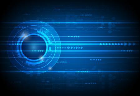 yeux: Résumé avenir concept de science technologie numérique. vecteur Illustration futuriste de communication, fond bleu électronique