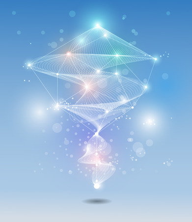 Abstract futuristic - Molecules technology with white ray wave and light blue colour background. Illustration Vector design digital technology concept