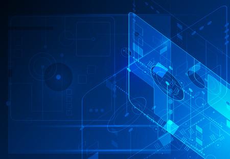 Résumé avenir concept de science technologie numérique. vecteur Illustration futuriste de communication, fond bleu électronique