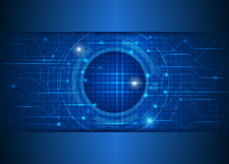 symbol technology: Abstract future digital science technology concept. Illustration vector futuristic of communication , circuit board electronic blue background
