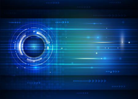 抽象的な未来デジタル科学技術コンセプト。近未来通信、電子の青い背景のイラスト