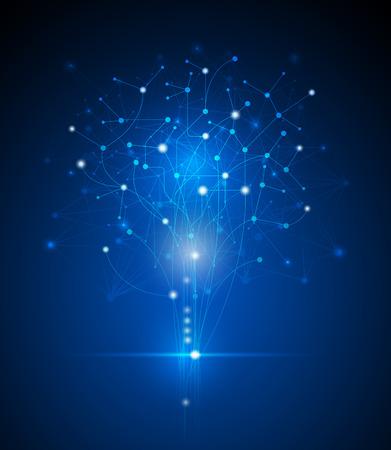 추상 미래 - 나무의 모양에 분자 기술. 그림 벡터 디자인 디지털 기술 개념