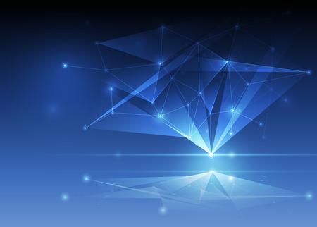 추상 미래 - 다각형 배경 분자 기술. 그림 벡터 디자인 디지털 기술 개념 일러스트