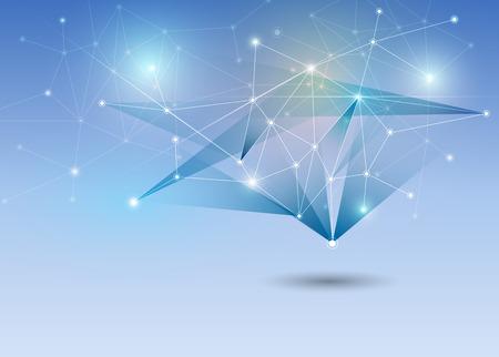 抽象的な未来 - ポリゴンの背景を持つ分子技術。イラスト ベクター デザイン デジタル技術コンセプト
