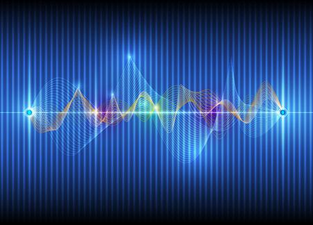 Illustration Abstrakte futuristische Wellen digitale Technologie-Konzept Vektor Hintergrund