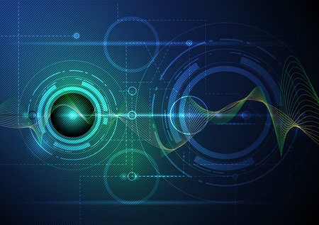 sonido: Futurista tecnología de ondas digital vector concepto de ilustración de fondo abstracto