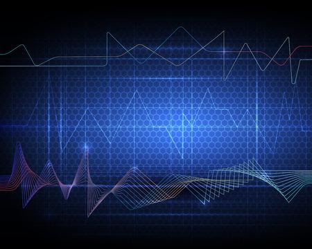 nano technology: Illustration Abstract futuristic wave-digital  technology concept vector background Illustration