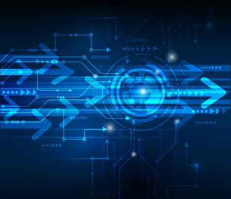 comunicación: Ilustración vectorial Resumen placa de circuito futurista, de alta tecnología de la tecnología digital de la velocidad del ordenador del color azul de fondo