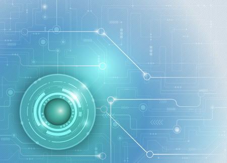 circuitos electronicos: Vector ilustración de la tarjeta de circuitos futurista abstracto, fondo de tecnología de alta ordenador, brillante luz de color verde y azul de fondo Vectores