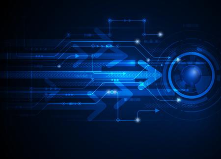 ベクトル図抽象的な未来的な回路基板、ハイテク コンピューター デジタル速度技術青い色の背景