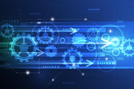 telecoms: Vector astratto futuristico ingegneria ruota dentata sul circuito, Illustrazione hi-tech elettrico tecnologia velocit� delle telecomunicazioni digitale su sfondo verde blu colore