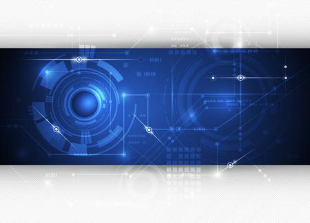 impulse: Vektor-Illustration Zusammenfassung futuristische Leiterplatte, hohe Computertechnik Hintergrund, gl�nzende abstrakte Objekte blaue Farbe Hintergrund