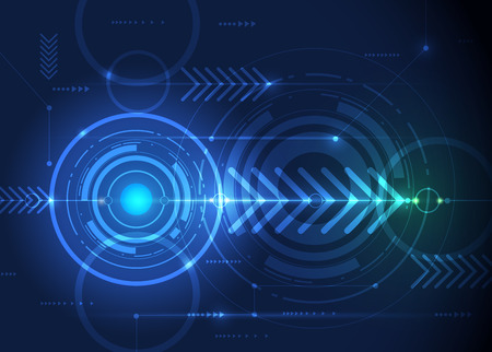globo ocular: Ilustraci�n vectorial tablero de circuito abstracta futurista, ordenador de alta tecnolog�a, digital concepto de la tecnolog�a de velocidad. S�mbolo del globo y la flecha verde sobre fondo azul del color Vectores