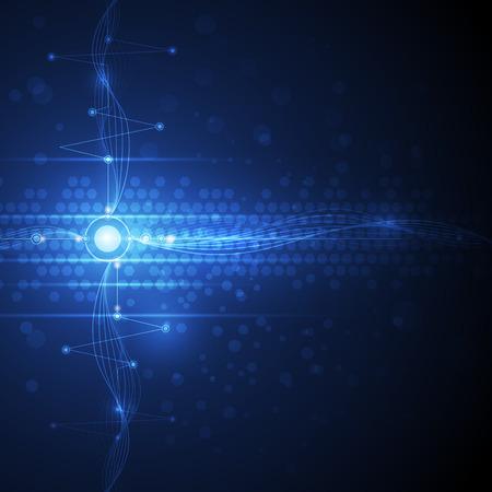 wellenl�nge: Vektor-Illustration Zusammenfassung futuristische Leiterplatte und Wellenl�nge, hohe Computer-Technologie-Konzept. Blaue Farbe im Raum Hintergrund f�r Ihr Design